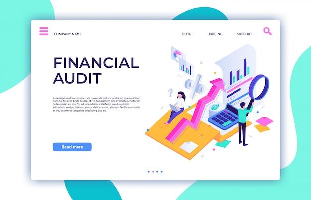 Zielseite der finanzprüfung. steuermanagement, unternehmensberater-service und isometrische darstellung der finanzbuchhaltung Premium Vektoren