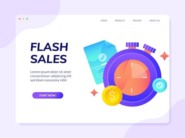 Zielseite der flash sales-website