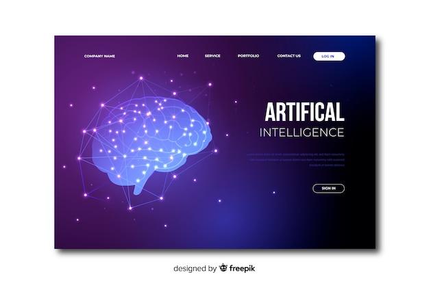 Zielseite der künstlichen intelligenz der schablone