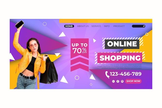 Zielseite der online-einkaufsvorlage