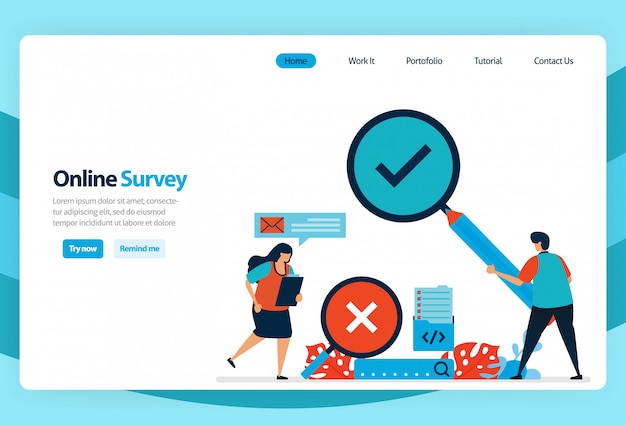 Zielseite der online-umfrage und überprüfung der ergebnisse von prüfungsprüfungen