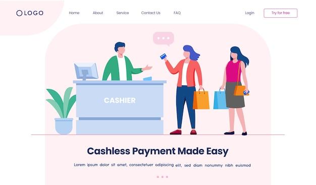 Zielseite der website für bargeldloses bezahlen