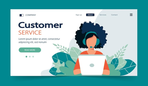 Zielseite des business customer care service
