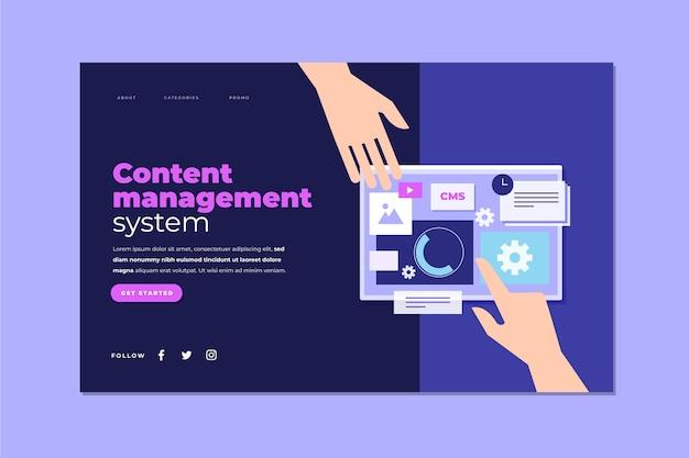 Zielseite des content management systems