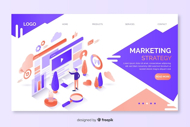 Zielseite des isometrischen marketingschemas