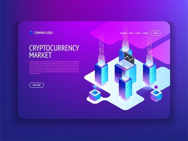 Zielseite des kryptowährungsmarkts
