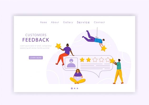Zielseite des kunden-feedback-konzepts, kleine miniaturmenschen und bewertungssterne, web-banner mit platz für text