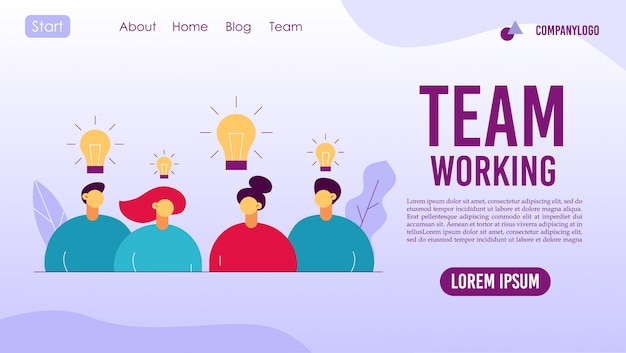 Zielseite für den kreativen prozess der teamarbeitskooperation