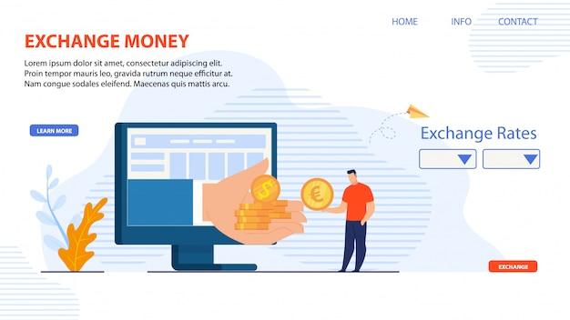 Zielseite für die exchange money online-plattform