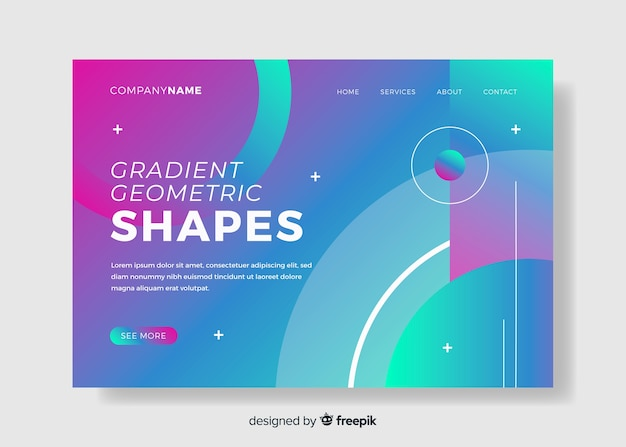 Zielseite für geometrische modelle mit farbverlauf