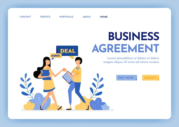 Zielseite für geschäftsvereinbarungen