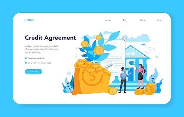 Zielseite für kreditvereinbarungen
