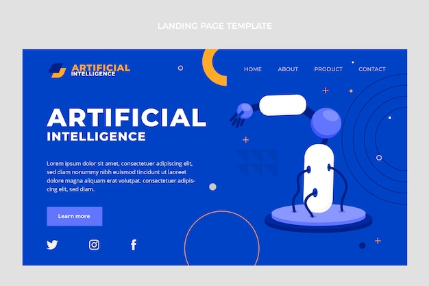 Zielseite für künstliche intelligenz im flachen design