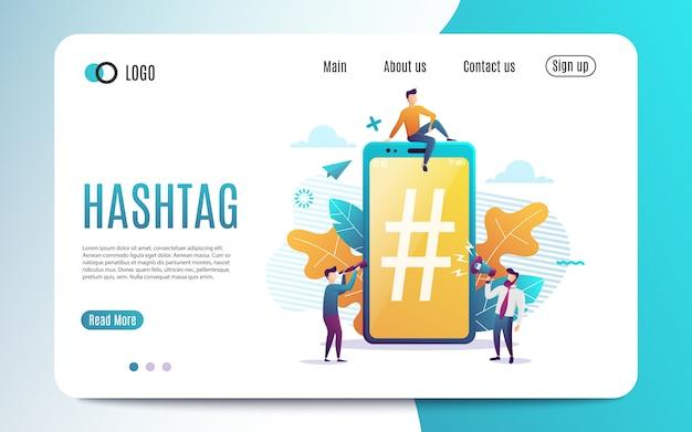 Zielseite großes telefon mit hashtag-zeichen, kleinen leuten und sozialen netzwerken. vektorabbildung. bunte flache art