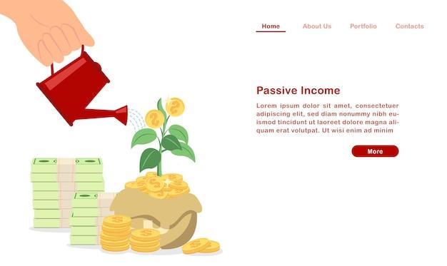 Zielseite investieren und erweitern sie ihr passives einkommenskonzept Premium Vektoren