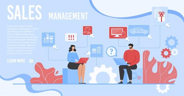 Zielseite mit dem team, das an verkaufs-management arbeitet