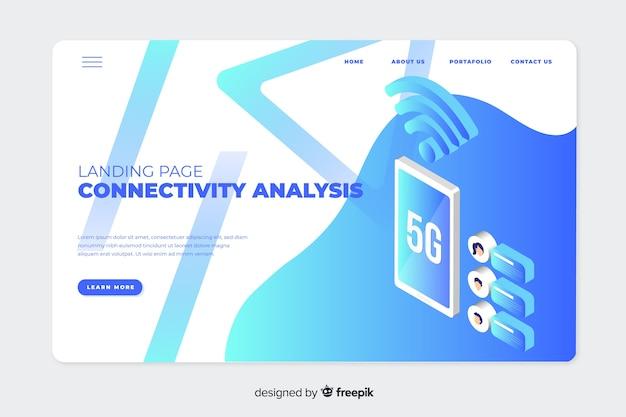 Zielseite mit isometrischer 5g-technologie