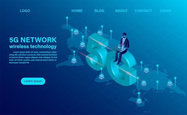 Zielseite mit konzept der drahtlosen technologie des netzes 5g. konzept für technologie und telekommunikation. isometrische flache designvektorillustration