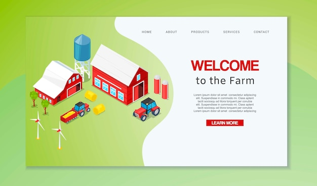 Zielseite oder webvorlage für die landwirtschaft der webseite. willkommen im bauernhaushalt.