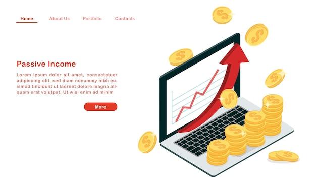 Zielseite verdienen passives einkommen online-konzept
