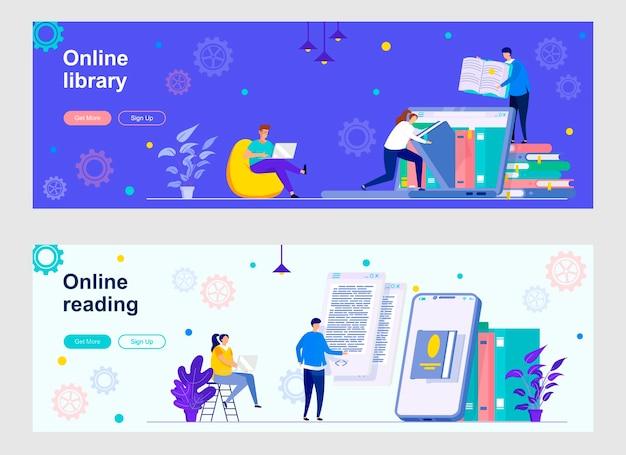 Zielseiten-set der online-bibliothek