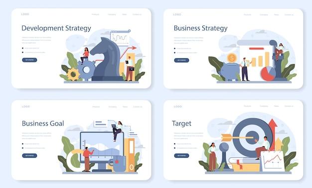 Zielseiten-set für entwicklungsstrategie