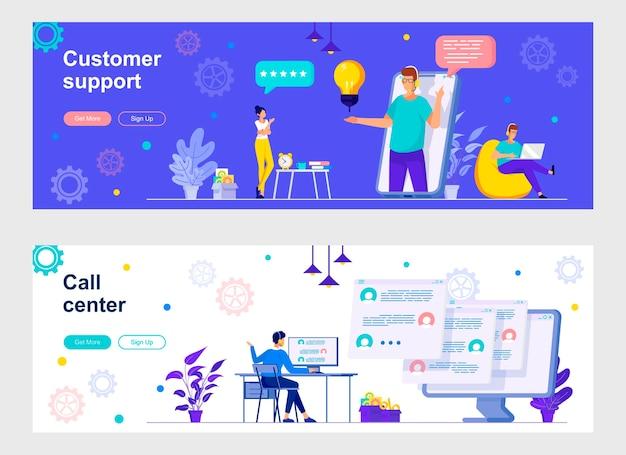 Zielseiten-set für kundenunterstützung
