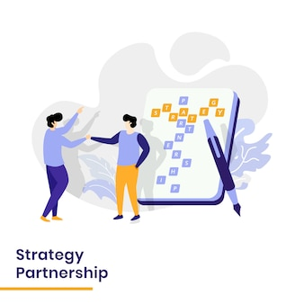 Zielseiten-strategie-partnerschafts-illustration