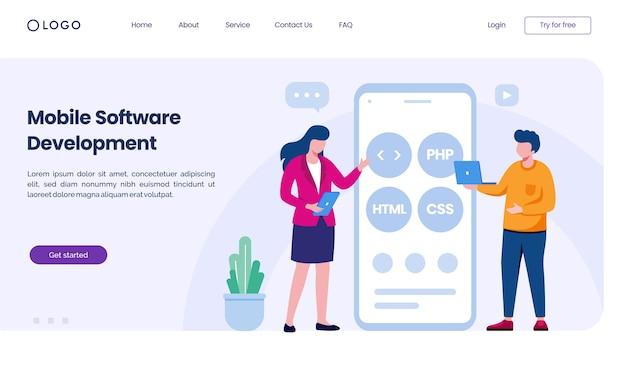 Zielseiten-website für die entwicklung mobiler software