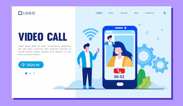 Zielseiten-website für videoanrufe
