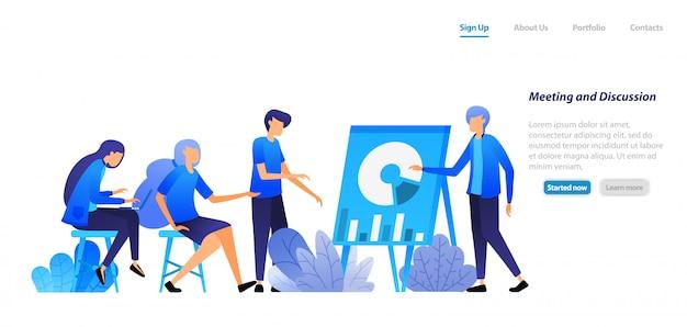 Zielseiten-webvorlage. direktoren und mitarbeiter treffen sich, um unternehmensthemen mit daten zu diskutieren. geschäftsseminar