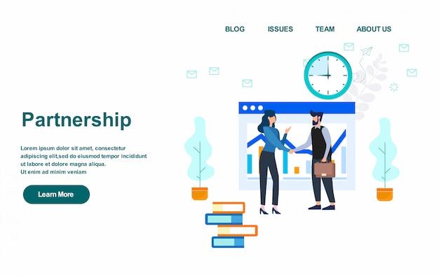 Zielseiten-webvorlage. flaches design der partnerschaftskonzeptvektor-illustration