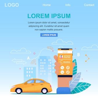 Zielseiten-webvorlage für den taxi online application service. gelbes auto im stadtbild und im arm, die smartphone halten. fahrkartenantrag