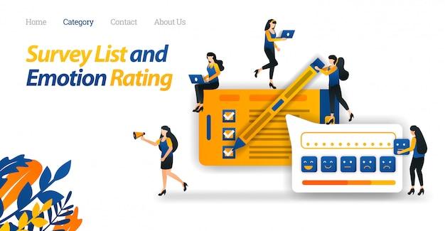 Zielseiten-webvorlage für kunden, die zufriedenheitsumfragen für online-shop-services durchführen und mit emoticon verschiedene emotionale bewertungen bereitstellen.