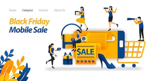 Zielseiten-webvorlage für shop für black friday-rabatte auf mobilgeräten, suchen und finden verschiedener black friday-angebote im internet.