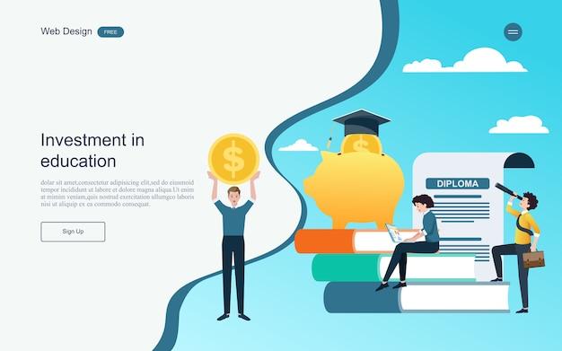 Zielseiten-webvorlage. konzept der investition für das on-line-lernen der ausbildung, der ausbildung und der kurse.