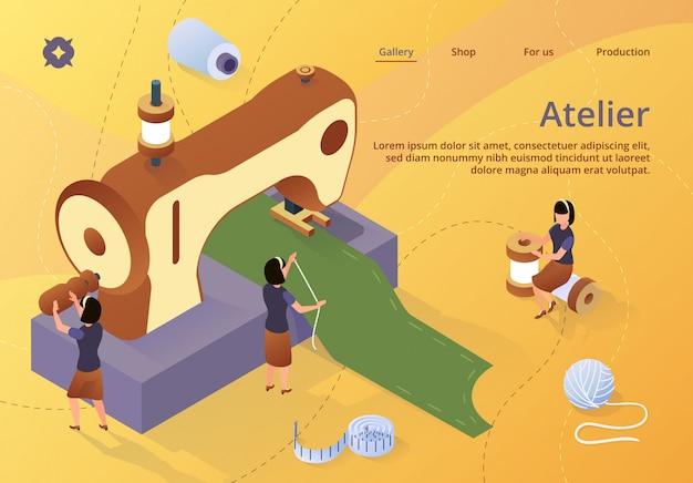 Zielseiten-webvorlage mit frauen erstellen outfit und bekleidung an der nähmaschine
