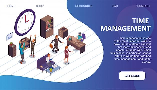 Zielseiten-webvorlage mit zeitmanagement-thema