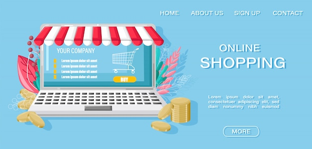 Zielseiten-webvorlage. online-shopping-notebook und geld-website