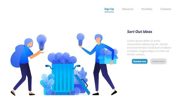 Zielseiten-webvorlage. wählen sie die beste idee aus und werfen sie sie in den papierkorb. sammeln sie ideen und gedanken.
