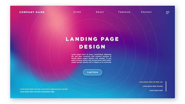 Zielseiten-webvorlagenentwurf mit farbverlaufskombinationen