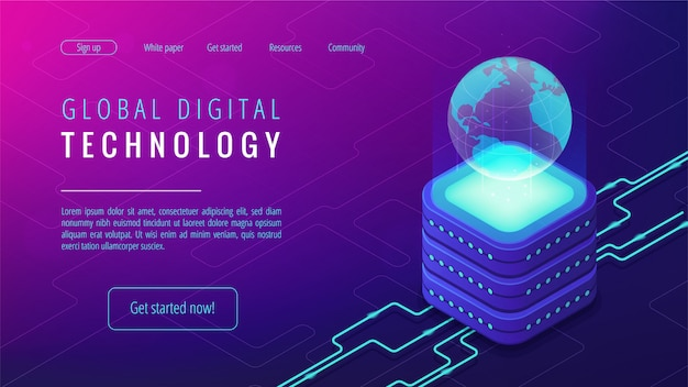 Zielseitenkonzept der isometrischen globalen digitalen technologie.
