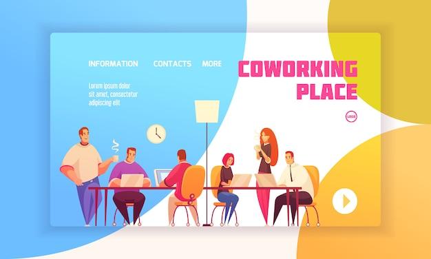 Zielseitenkonzept des coworking-platzes für website mit mitarbeitern im geteilten arbeitsumfeld und kontaktinformationen über feste flache illustration