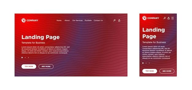 Zielseitenleere vorlage desktop-pc und mobile adaptive version minimaler geometrischer hintergrund