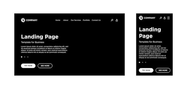 Zielseitenleere vorlage desktop-pc und mobile adaptive version website-layout schwarzer hintergrund
