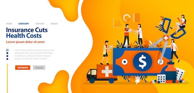 Zielseitenschablone mit vektorillustration der versicherung senkt gesundheitskosten. geld mit einer riesigen schere für den finanzsektor
