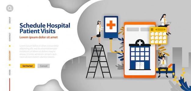 Zielseitenschablone mit vektorillustration des krankenhauspatienten besucht zeitplan, krankenhausplanung, krankenhausplanungsanwendung
