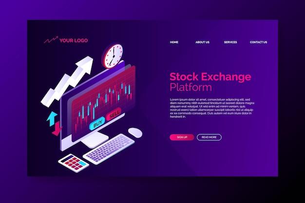 Zielseitenvorlage der börsenplattform