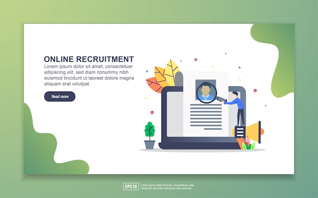 Zielseitenvorlage der online-rekrutierung. modernes flaches konzept des entwurfes des webseitenentwurfs für website und bewegliche website.