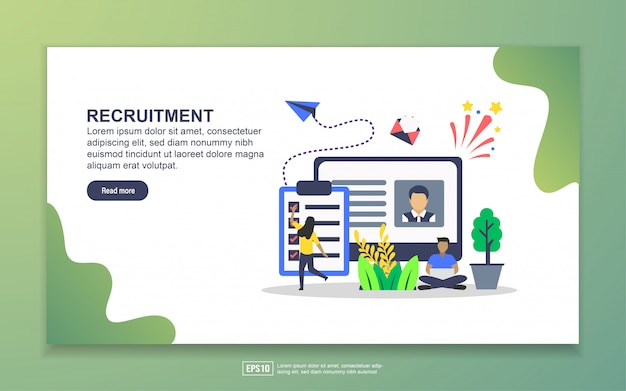 Zielseitenvorlage der rekrutierung. modernes flaches konzept des entwurfes des webseitenentwurfs für website und bewegliche website